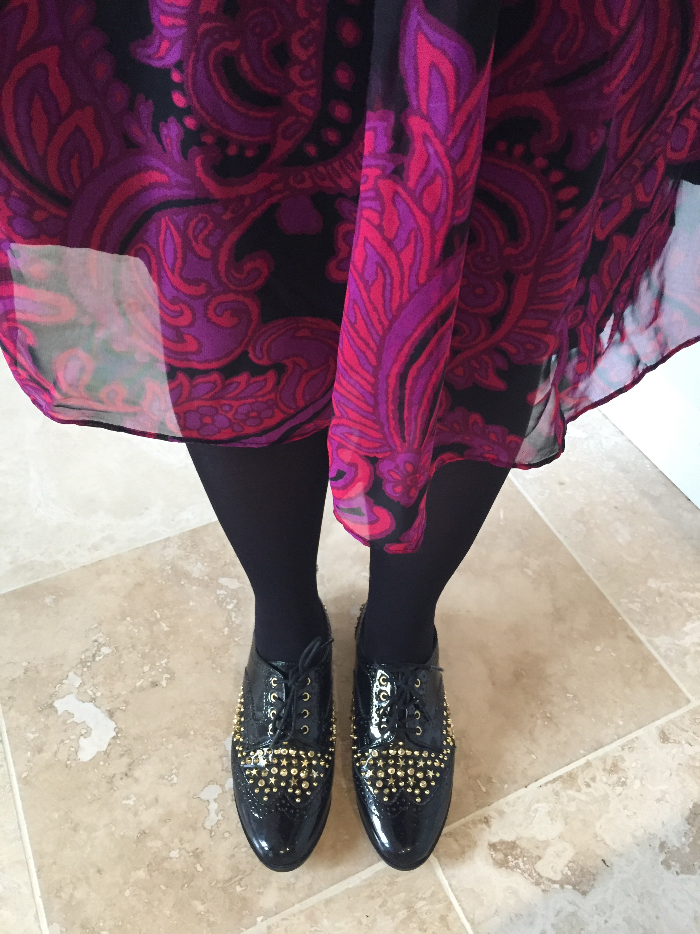 70s flower power studded brogues shoes look via Always a Blue Sky Girl blog