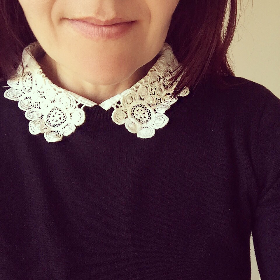 Wednesday Addams inspired primark jumper with lace collar via Always a Blue Sky Girl blog