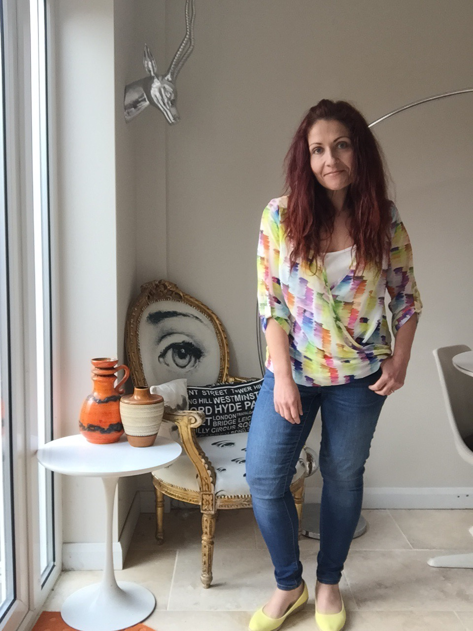 M&Co rainbow print blouse outfit of the day #ootd always a Blue Sky Girl blog