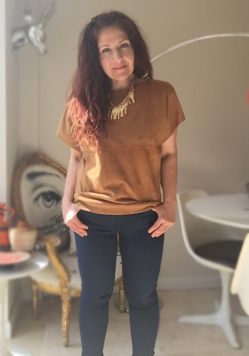 suede t-shirt #ootd via Always a Blue Sky Girl blog