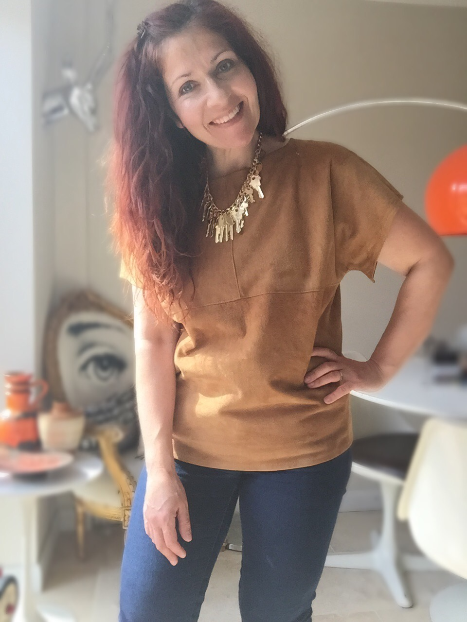 suede t-shirt #ootd via Always a Blue Sky Girl blog