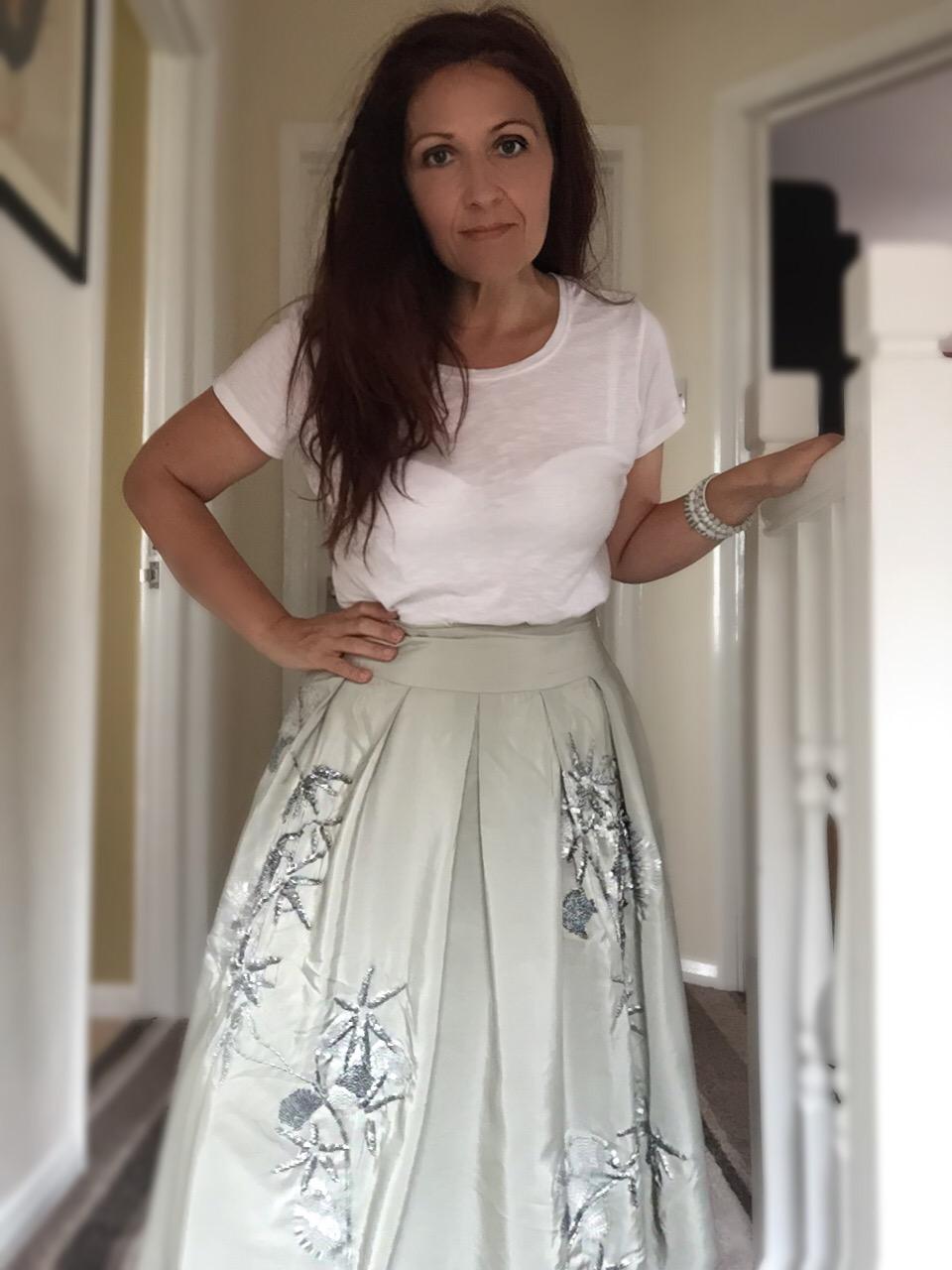 white t-shirt & monsoon embellished skirt via Always s blue sky girl styling blog