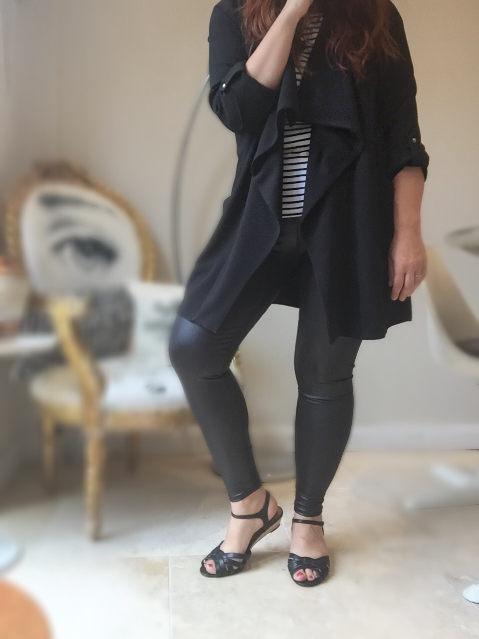 MandCo waterfall jacket & wet look leggings #ootd via Always a Blue Sky Girl blog