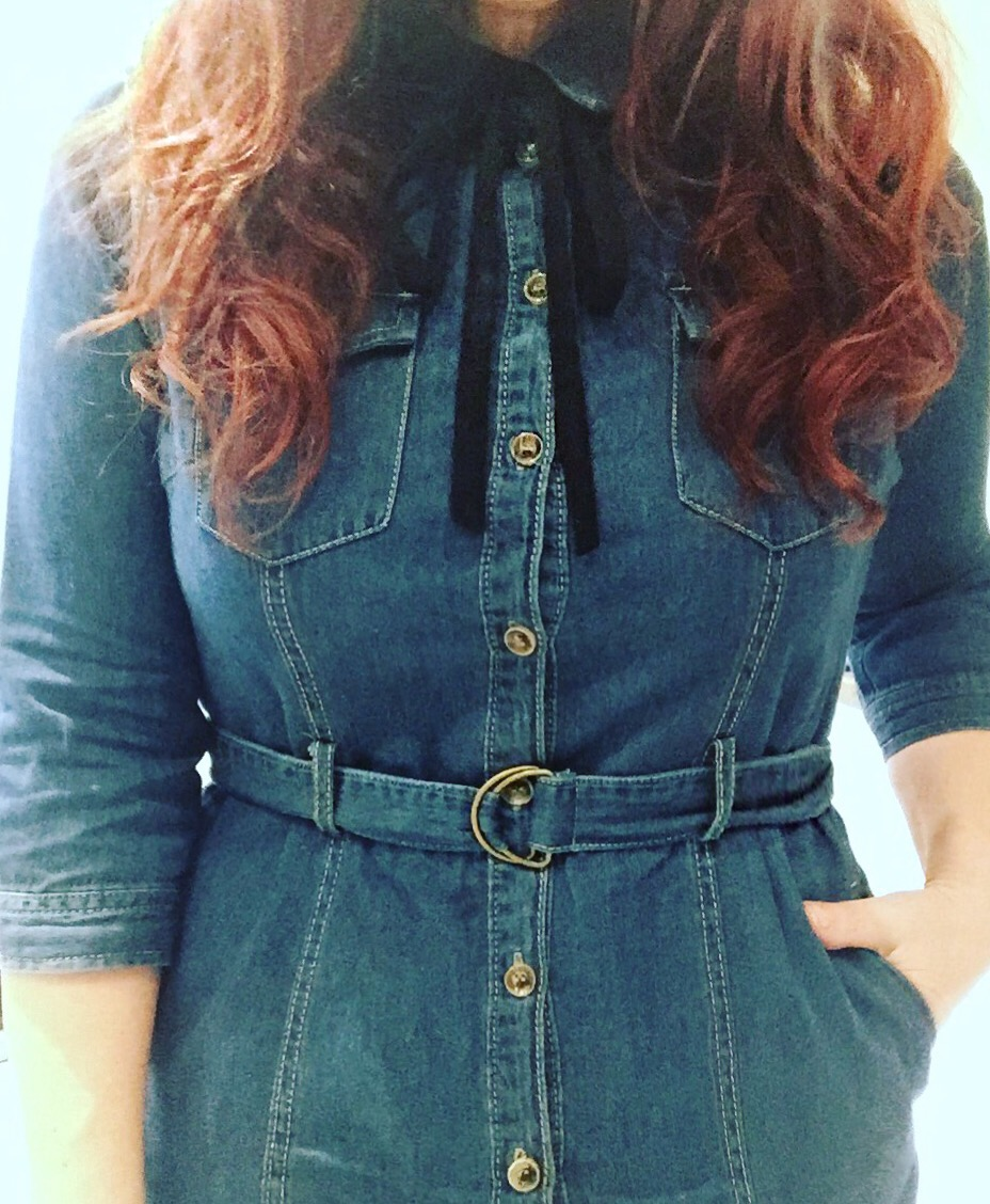New Look denim dress via Always a Blue Sky girl fashion blog
