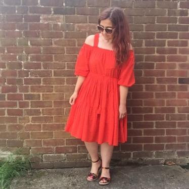 h&m off the shoulder peasant dress by blueskygirlie via Always a Blue Sky Girl fashion styling blog