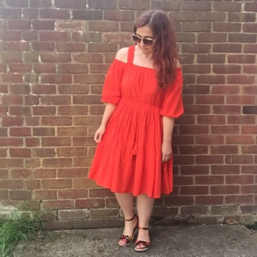 h&m off the shoulder peasant dress by blueskygirlie via Always a Blue Sky Girl fashion styling blog