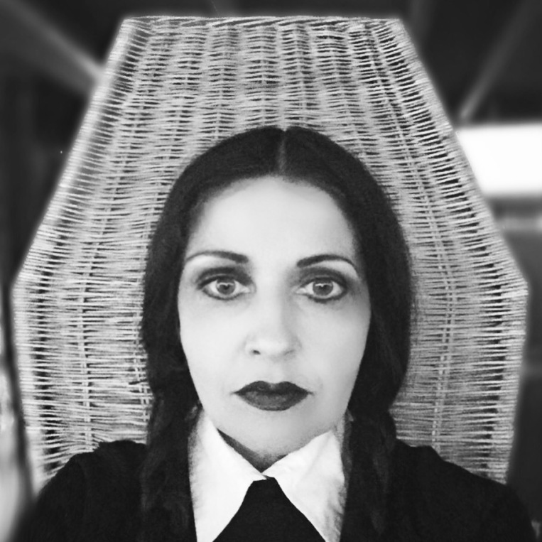 Wednesday Addams dress up Halloween costume via Always a Blue Sky Girl Fashion blog blogger