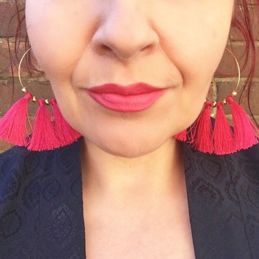 Confidence project - pink lip & statement tassel earrings Sarah Gorlov Blueskygirlie Always a Blue Sky Girl blog fashion blogger