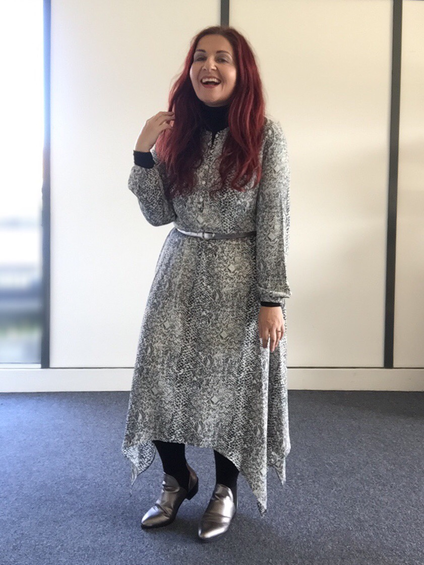 George at Asda snakeprint handkerchief hem dress via Always a Blue Sky Girl aka blueskygirlie fashion style blog