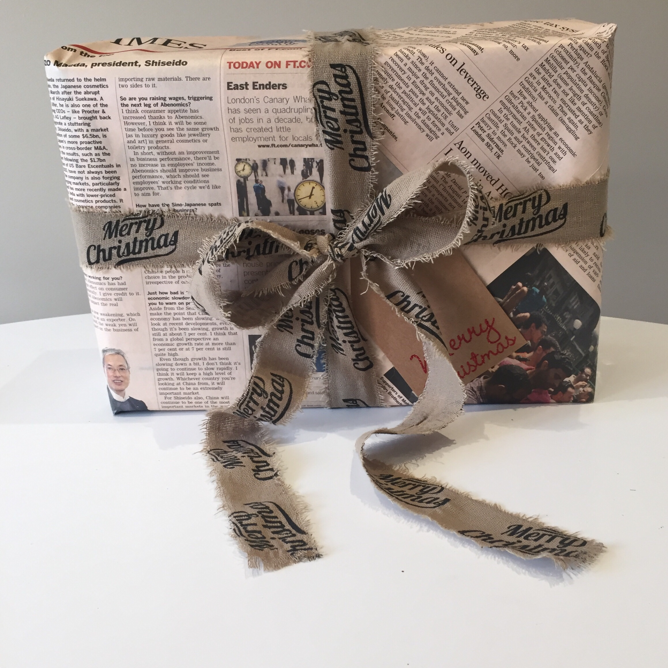 Christmas gift wrap wrapping Newspaper style guide via Always a Blue Sky Girl blueskygirlie style blog